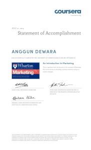 Coursera - U Pennsylvania - An Introduction to Marketing - 2014 - July