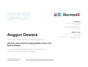 edX - Harvard - China - Creating Modern China - The Birth of a Nation - 2014 - November